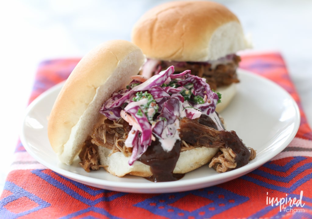 Red Cabbage Coleslaw / Pulled Pork Sliders | inspiredbycharm.com