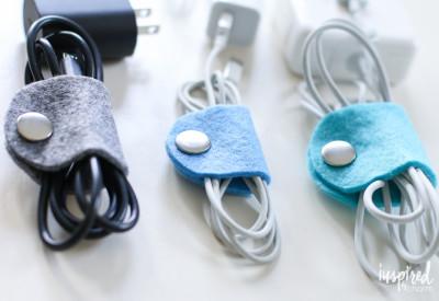 DIY Felt Cable Organizers | inspiredbycharm.com