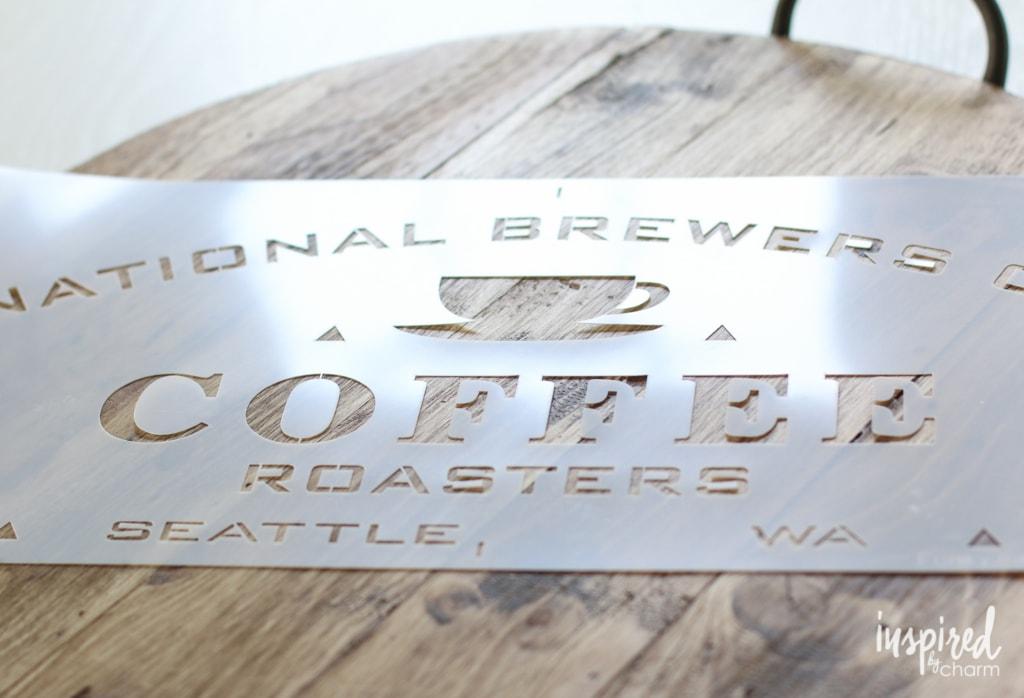 DIY Stenciled Coffee Tray| inspiredbycharm.com