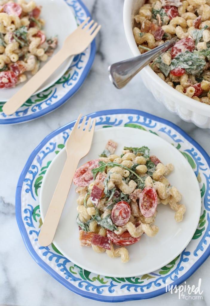 BLT Macaroni Salad | inspiredbycharm.com