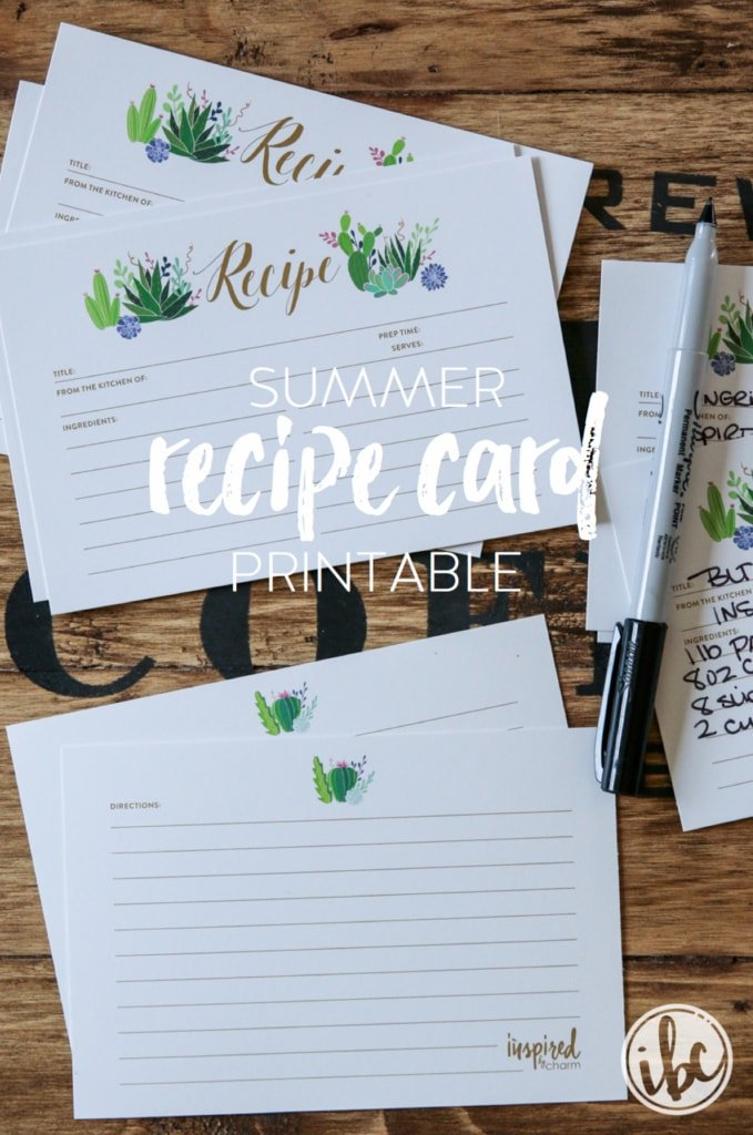 Summer Recipe Card Printable | inspiredbycharm.com