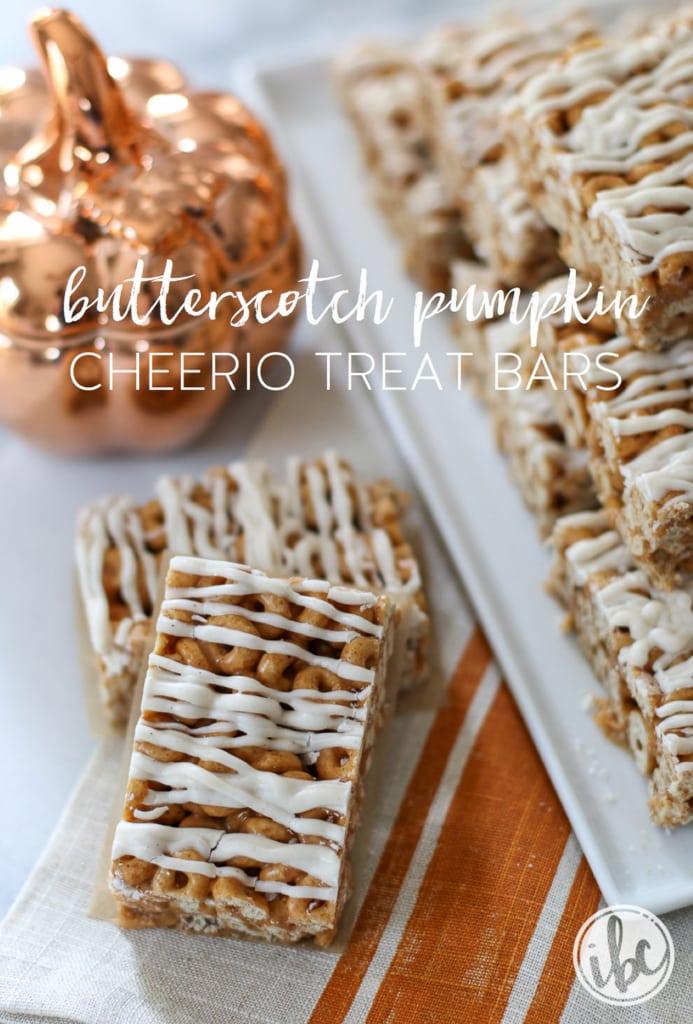 Butterscotch Pumpkin Cheerio Treat Bars | inspiredbycharm.com