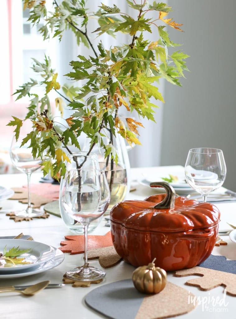 Fall Colorblock Cork Table Decor | inspiredbycharm.com