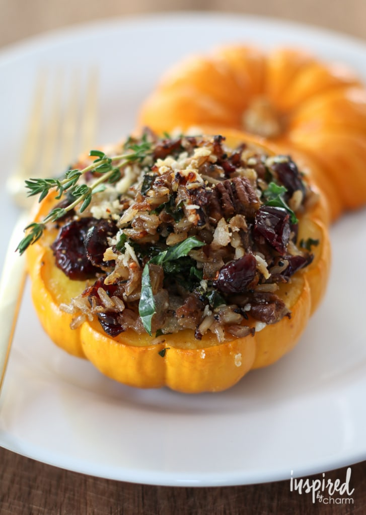 Sausage, Rice, and Cranberry Mini Stuffed Pumpkins | inspiredbycharm.com