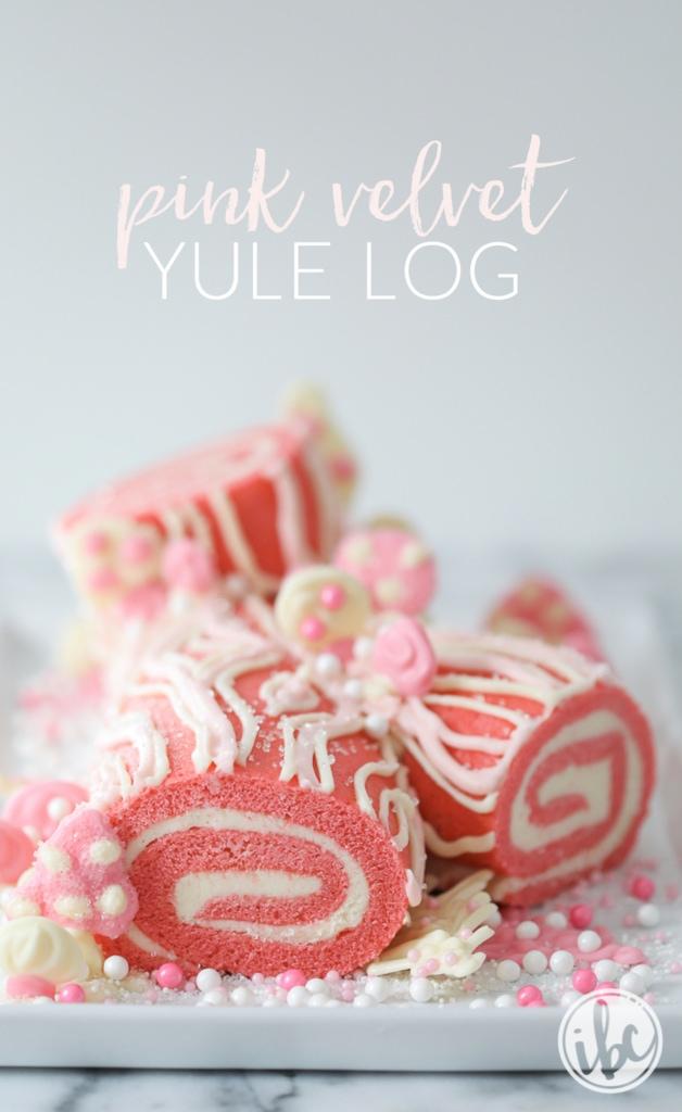 Pink Velvet Yule Log | inspiredbycharm.com