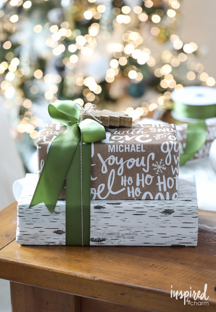 Personalized Holiday Gift Wrap Ideas | inspiredbycharm.com