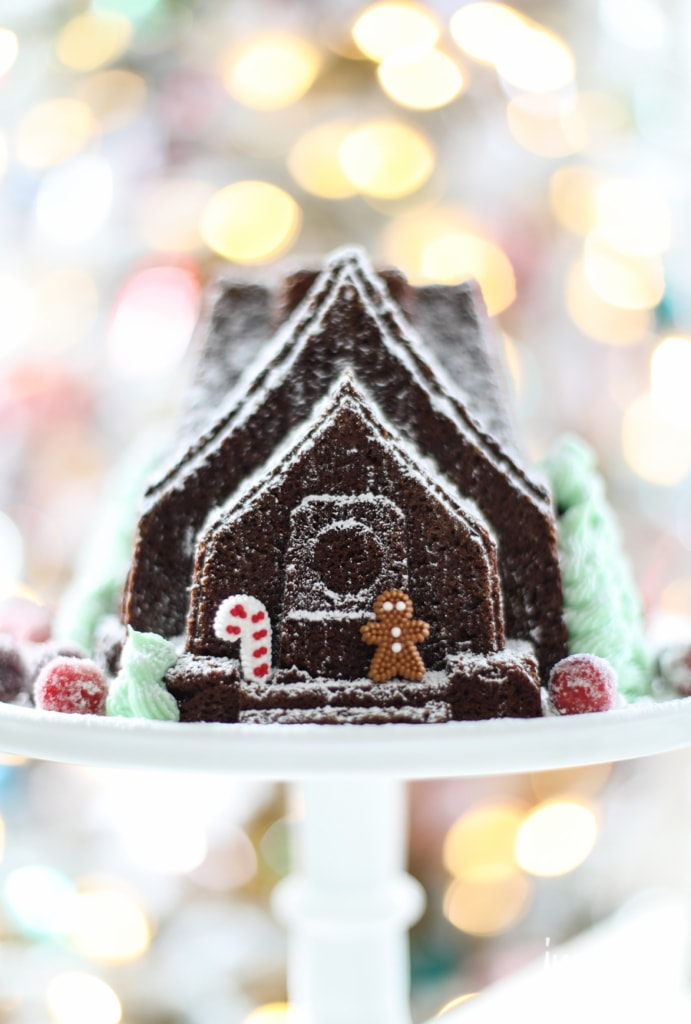 Sugared Cranberries and Gingerbread House Cake | inspiredbycharm.com #IBCholiday