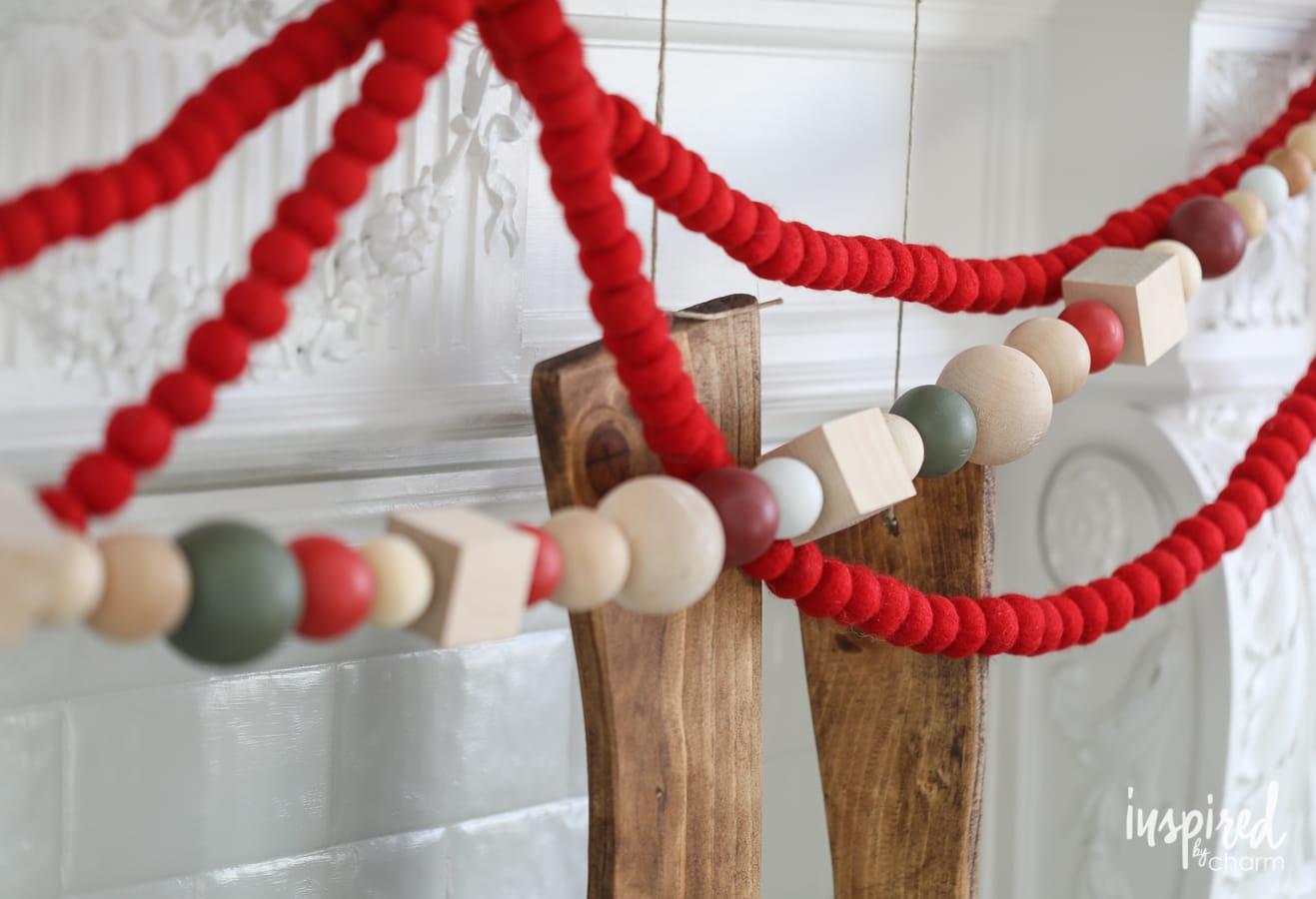 diy wood bead christmas garland - Christmas Bead Garland