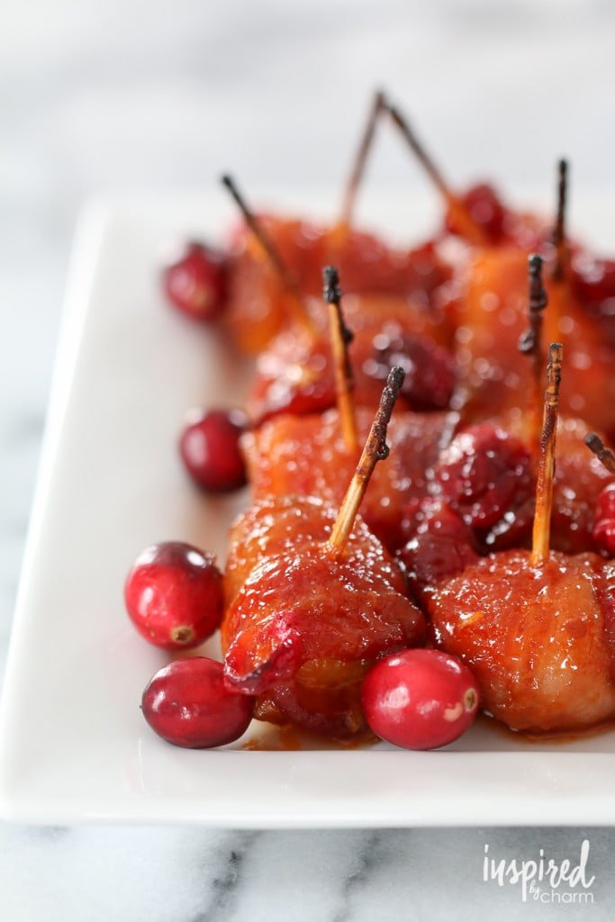 Cranberry Bacon-Wrapped Water Chestnuts - Eight Game-Winning Appetizer Recipes | Inspired by Charm