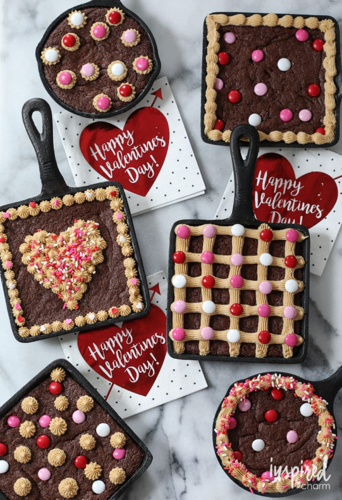 Mini Skillet Brownies with Peanut Butter Frosting - Valentine's Day Recipes