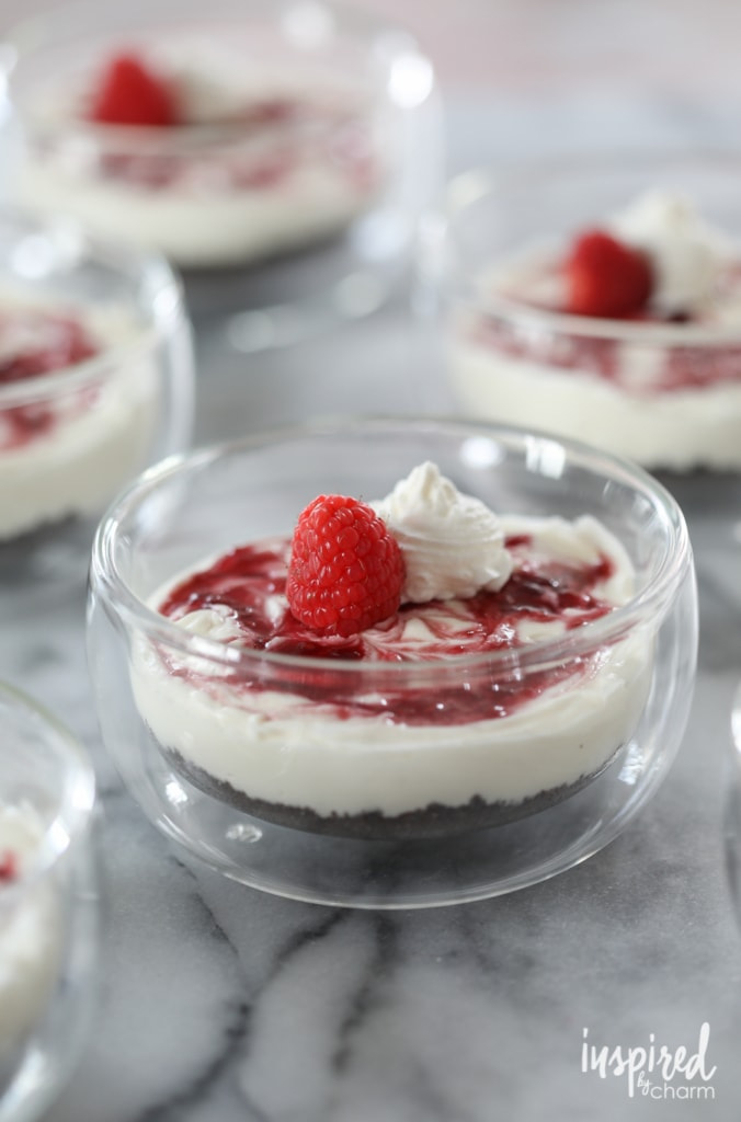 No-Bake Chocolate Raspberry Cheesecakes - easy Valentine's dessert recipe