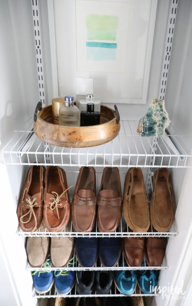 DIY Custom Shoe Storage - how to organize your shoes in an unused space.