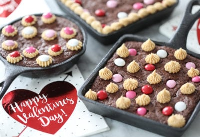 Homemade Skillet Brownies - dessert recipe for Valentine's Day!