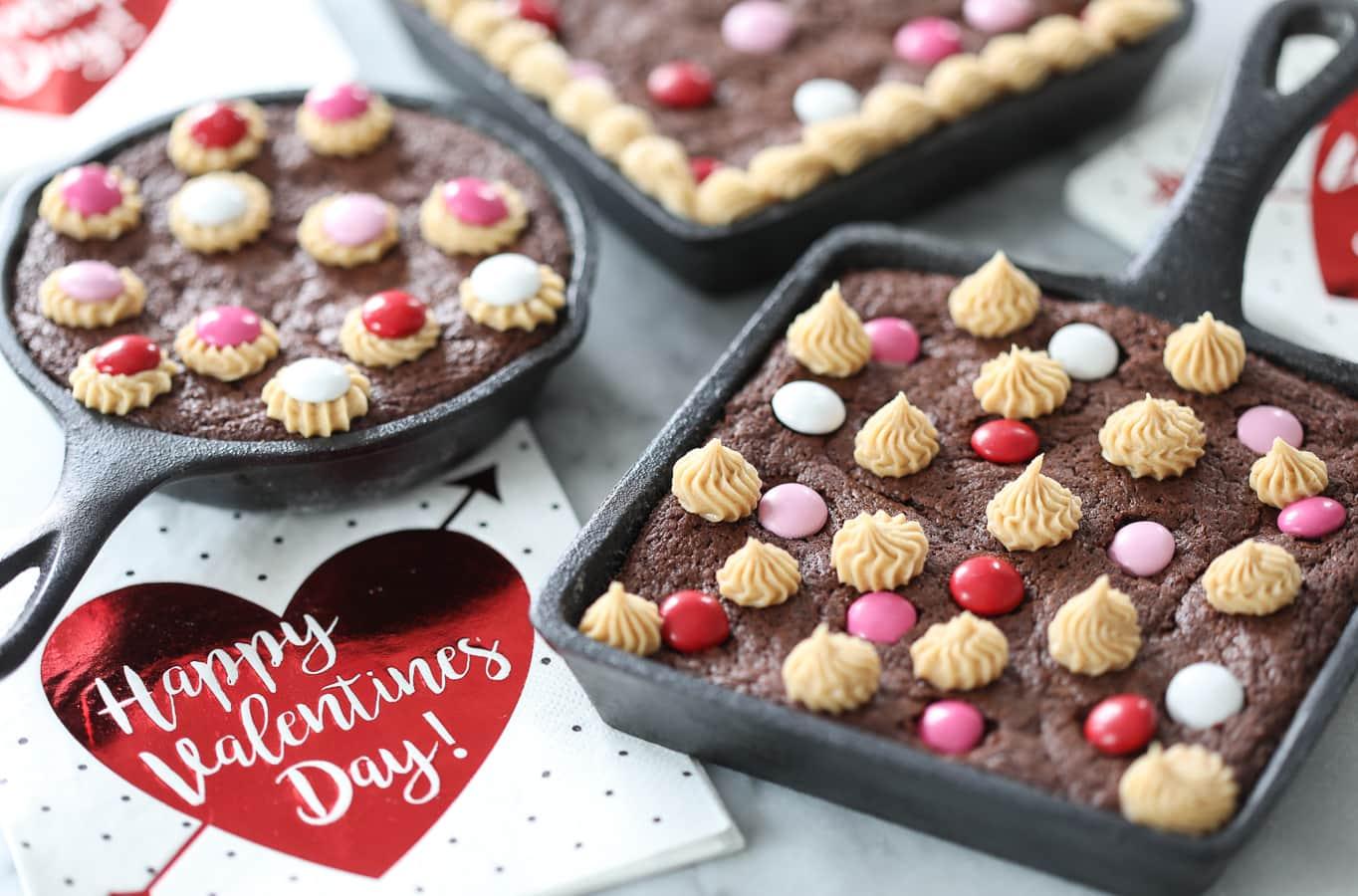 Homemade Skillet Brownies - dessert recipe for Valentine's Day!