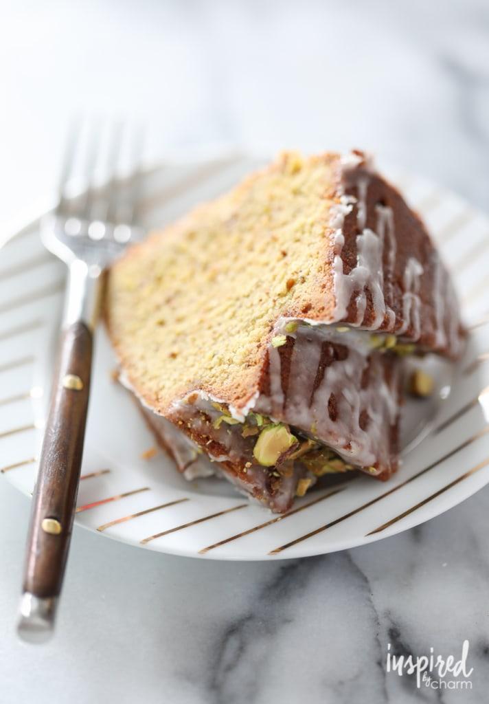 Lemon Pistachio Bundt Cake dessert recipe for St. Patrick's Day, Spring, or Easter.