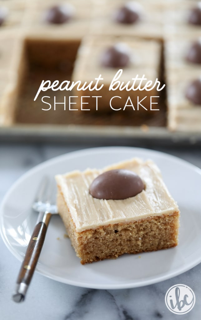 Peanut Butter Sheet Cake - Classic Texas Sheet Cake get's a flavor update with this peanut butter variation. | Inspired by Charm