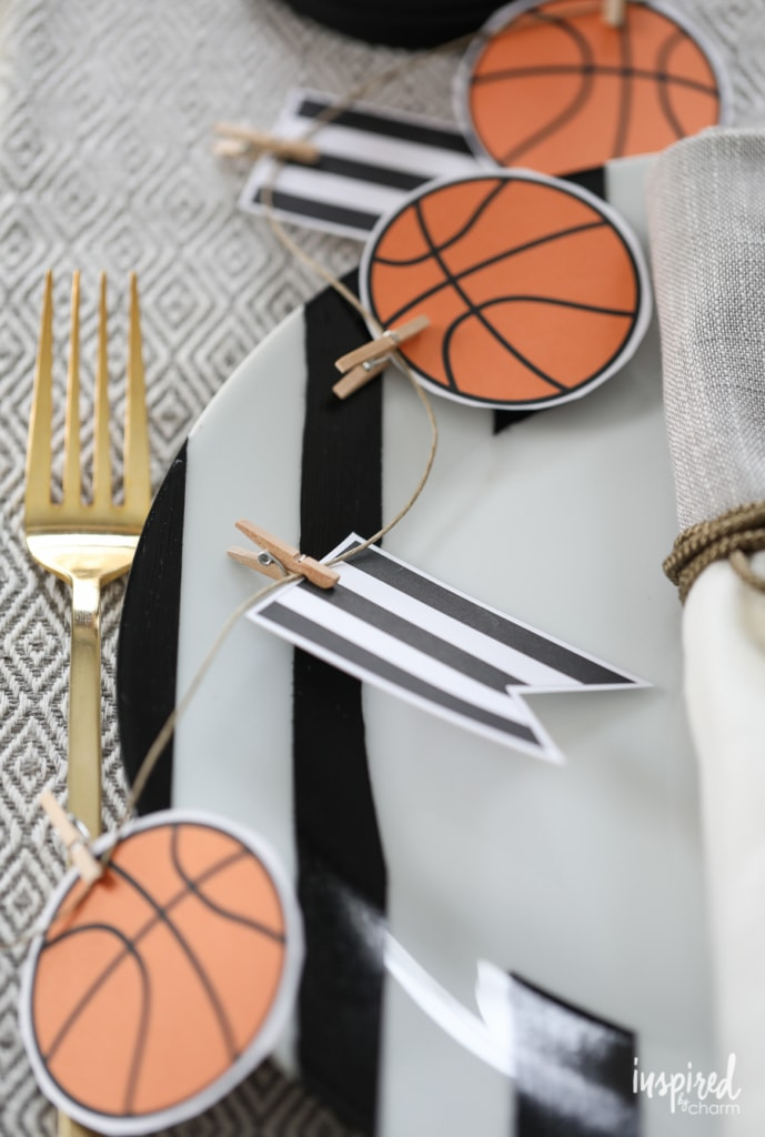 Printable Basketball Garland - DIY Basketball Entertaining Ideas | Inspired by Charm