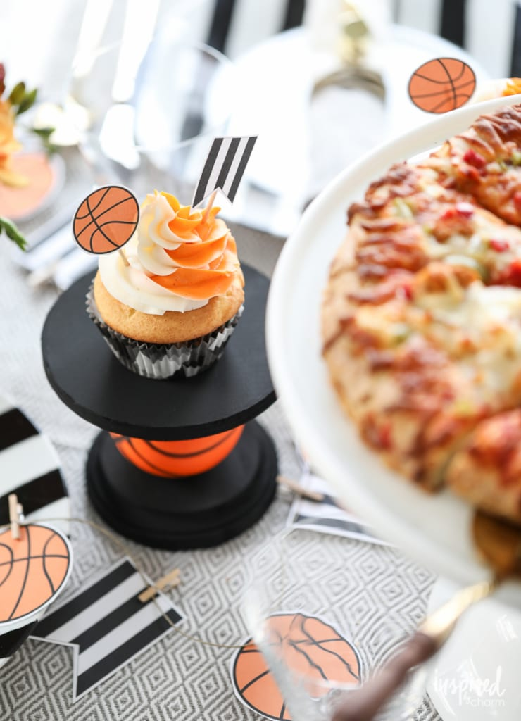 DIY Cupcake Stand - DIY Basketball Entertaining Ideas | Inspired by Charm