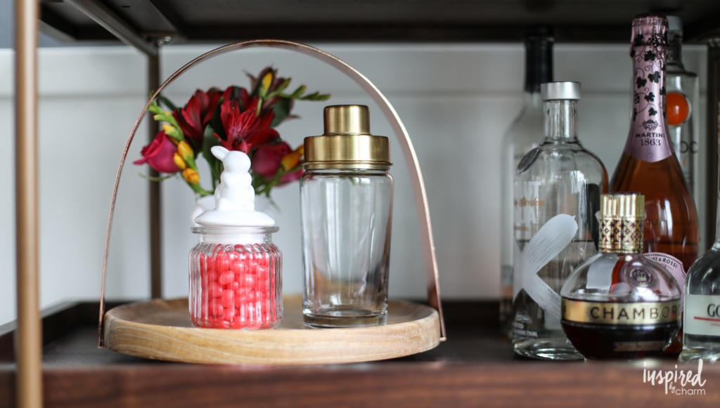 Ideas and tips for styling your bar cart for spring - Spring Bar Cart | Inspired by Charm