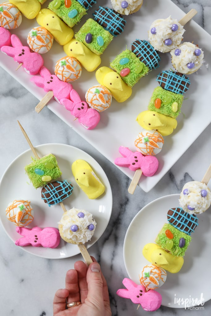 Easter Dessert Kabobs - Spring / Easter rainbow dessert recipe | Inspired by Charm