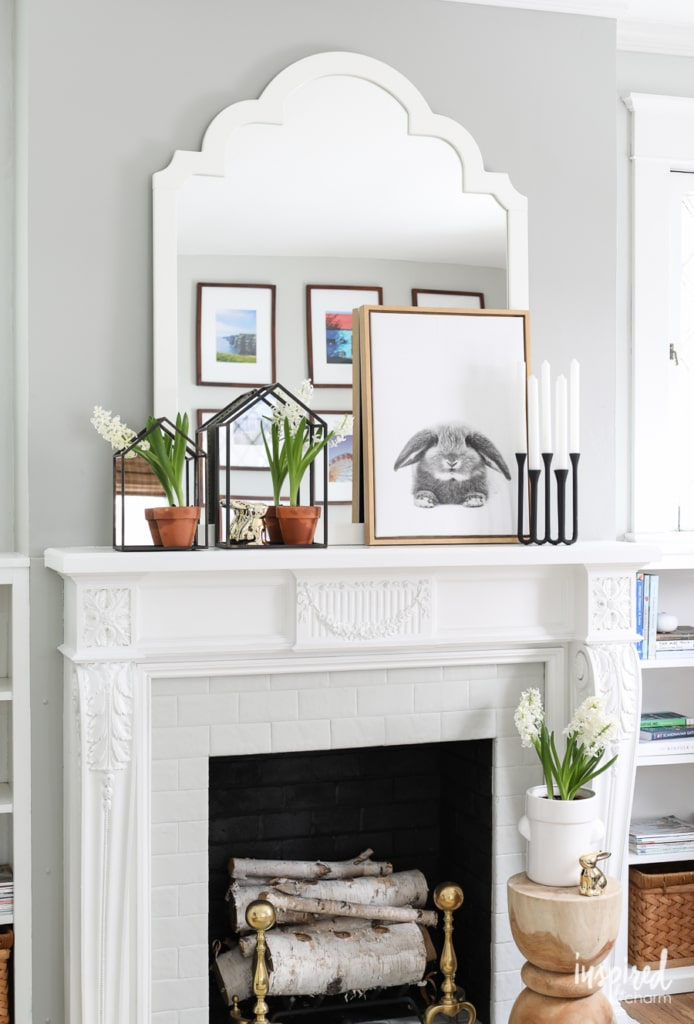 Modern Farmhouse Mantel Decor Ideas for Spring Decorating | Inspired by Charm
