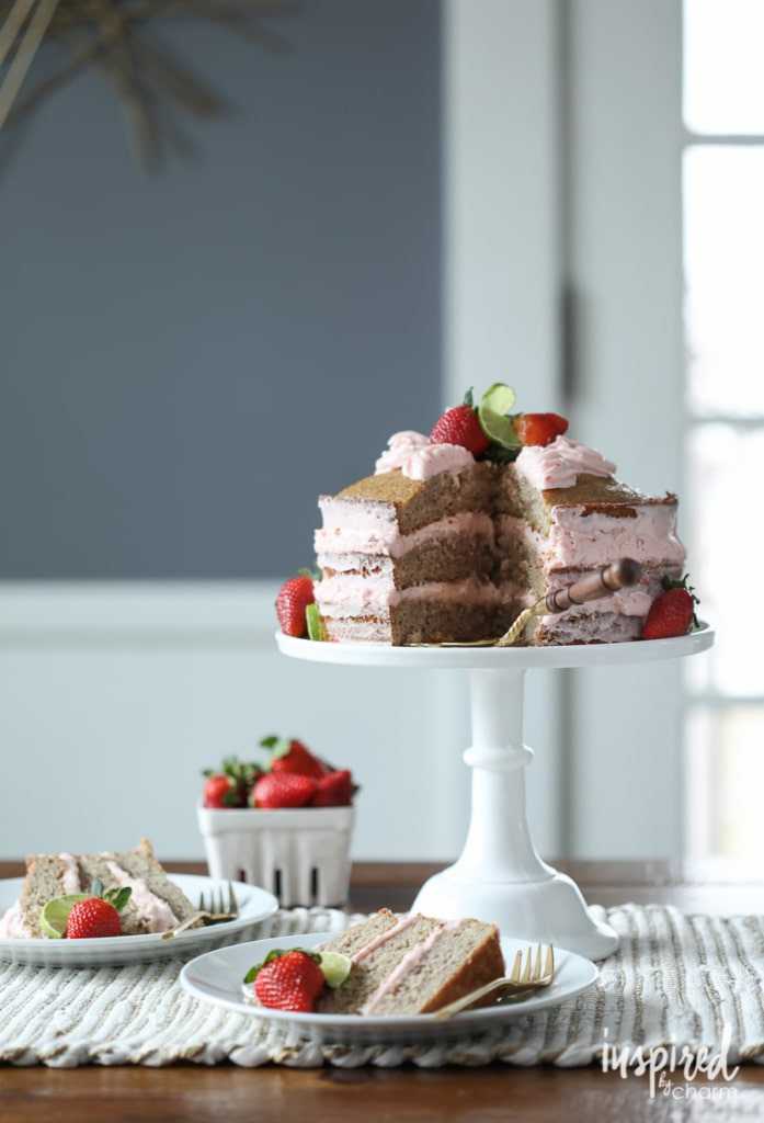 Strawberry Limeade Naked Cake for spring and summer entertaining. Delicious homemade strawberry cake. | Inspired by Charm