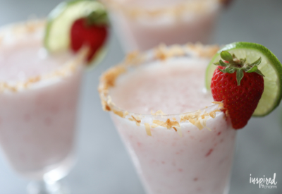 Strawberry Coconut Margaritas recipe for summer entertaining.   Inspired by Charm