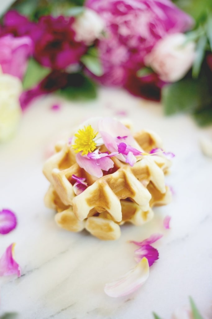 Edible Flower Waffles - Delicious and Beautiful Easter Recipes and Decor Ideas