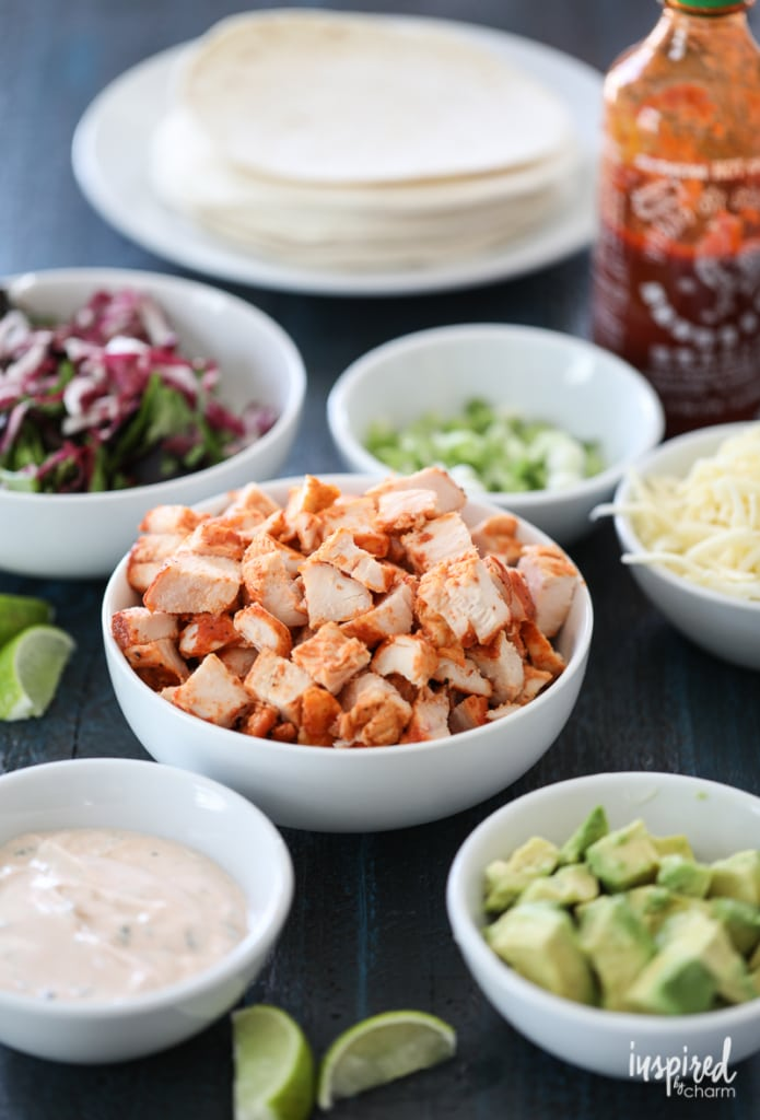 Sriracha Chicken Tacos - sweet and spicy Sriracha chicken taco recipe | Inspired by Charm