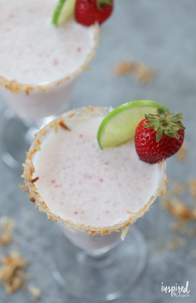 Strawberry Coconut Margaritas recipe for summer entertaining. | Inspired by Charm