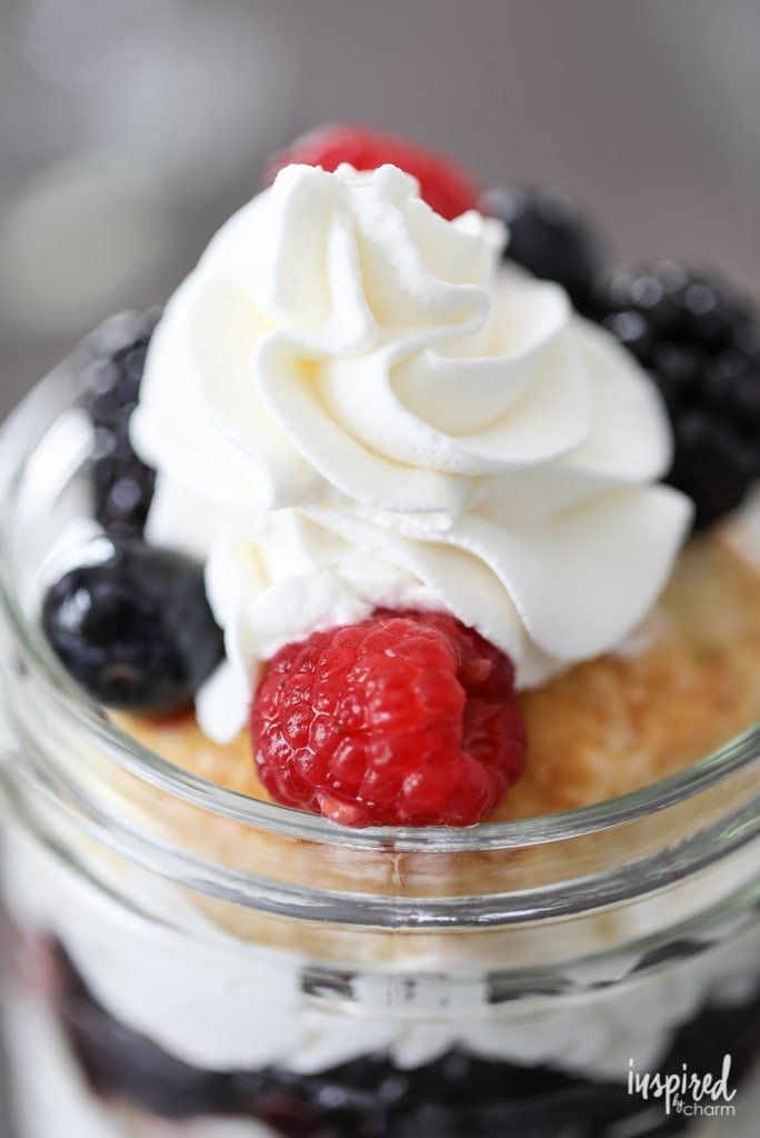 Mason Jar Mixed Berry Shortcakes with Homemade Whipped Cream - easy summer dessert recipe from Inspired by Charm