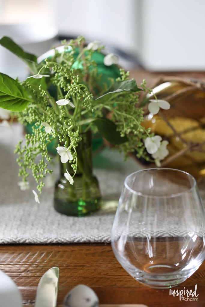 Simple Tips for Joyful Entertaining - summer tablescape and green-inspired table setting - dining room decor | Inspired by Charm