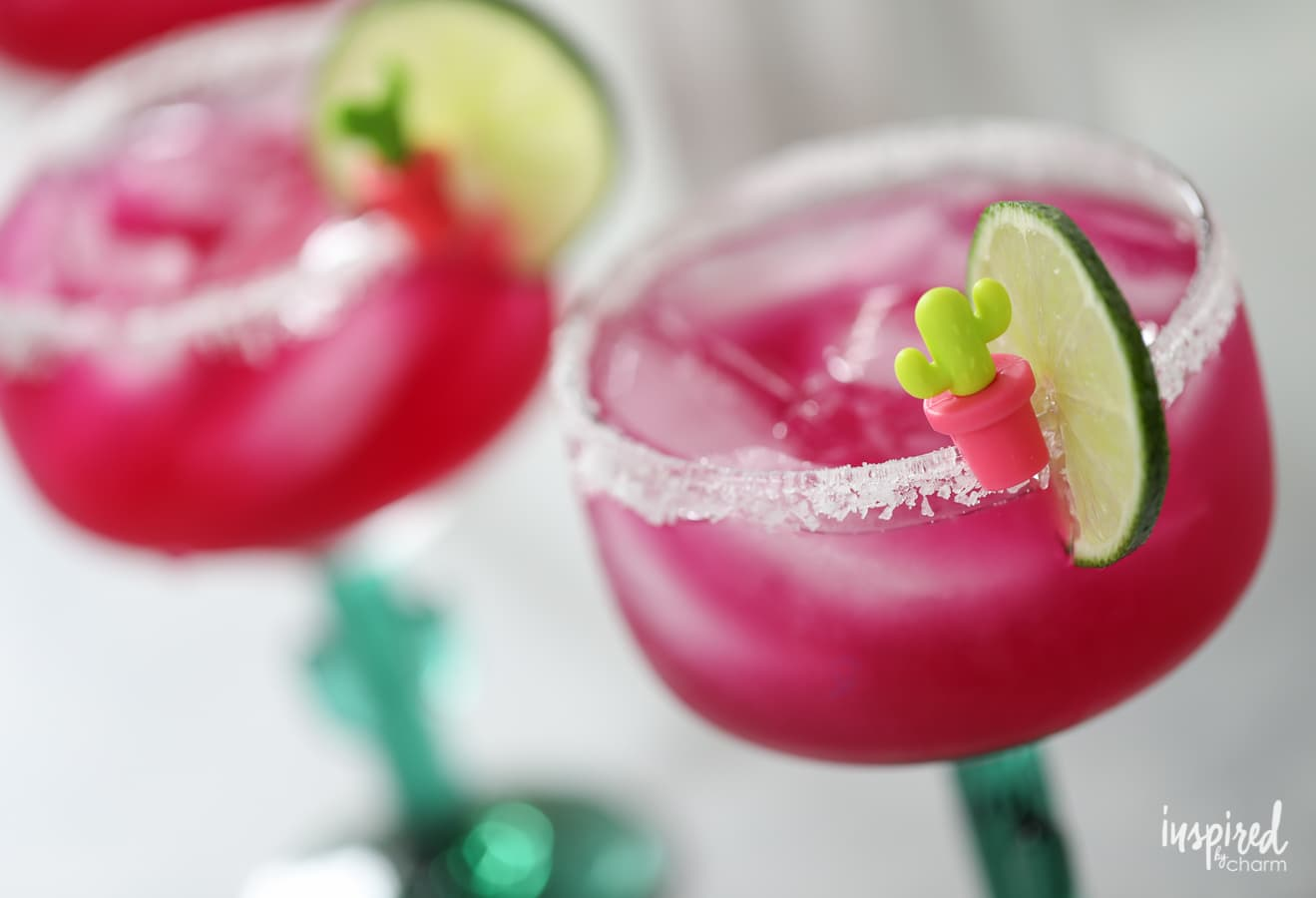 Celebrate with this unique and colorful cocktail: a Prickly Pear Margarita recipe served in a cactus glass. | Inspired by Charm