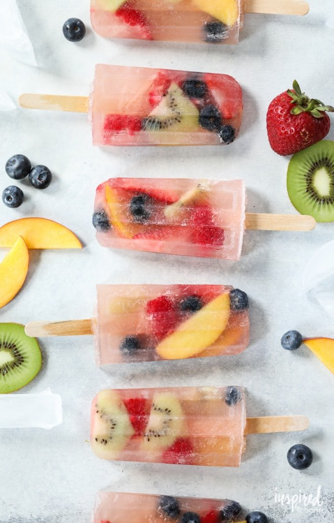 Sangria Rose Popsicles are the perfect boozy summer dessert treat. | Inspired by Charm