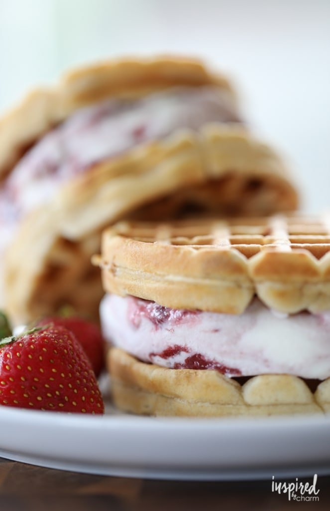 Homemade Peanut Butter Waffle and Jelly Ice Cream Sandwiches summer dessert recipe | Inspired by Charm