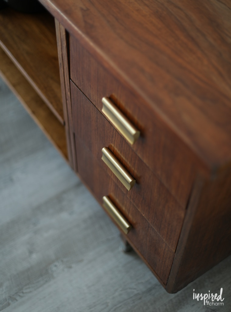 Tips for updating a thrifted mid-centruy sideboard with new drawer pulls. | Inspired by Charm