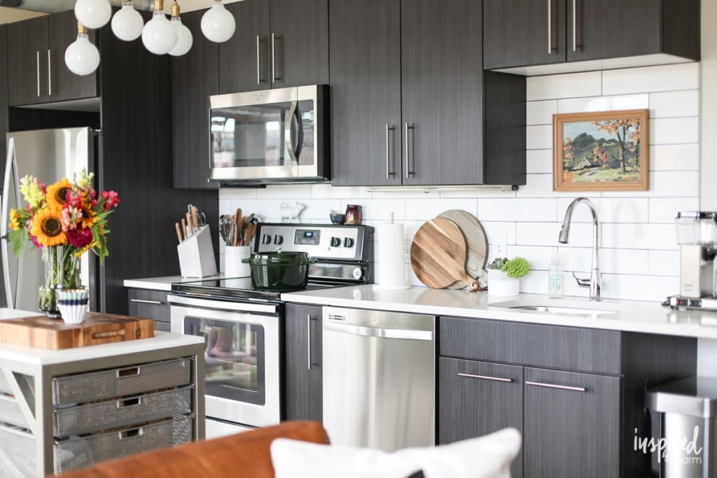 Tips and Ideas for styling and stocking an apartment kitchen. | Inspired by Charm