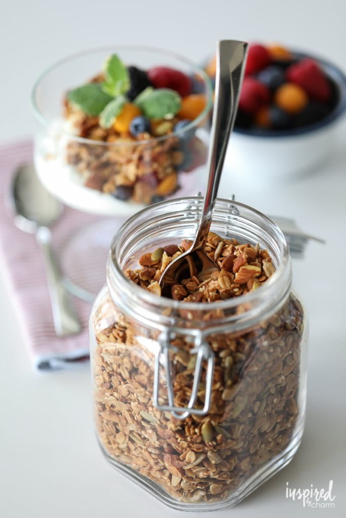 Homemade Granola Recipe delicious for breakfast with yogurt or on it's as a snack. | Inspired by Charm