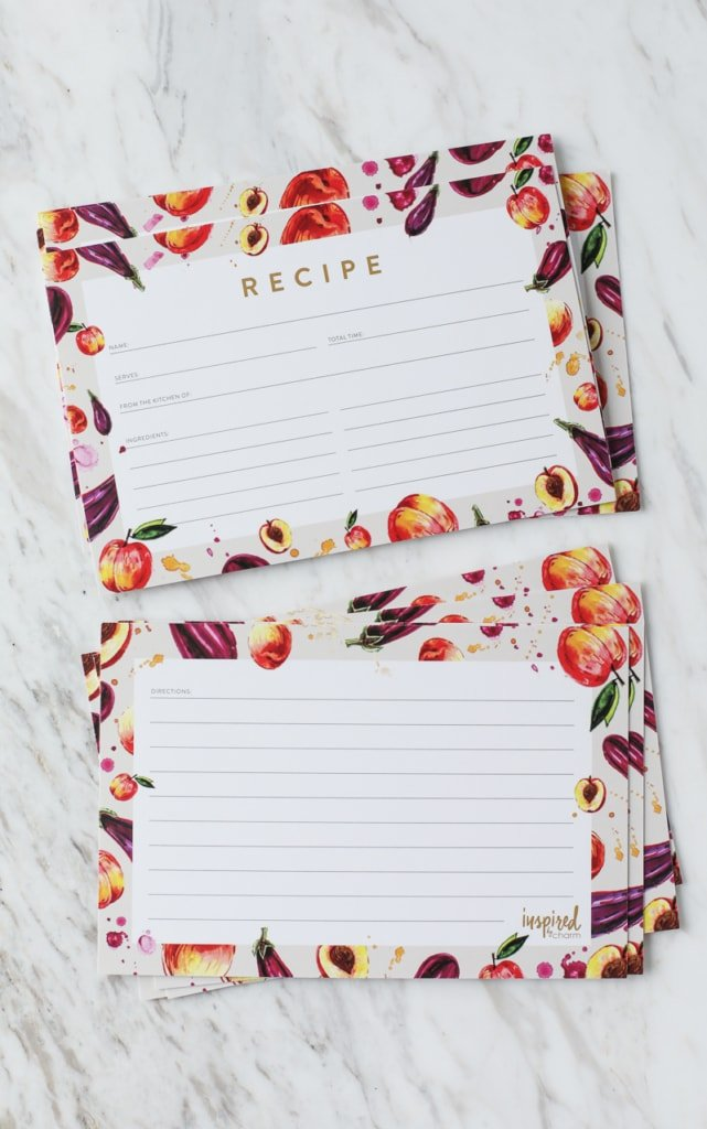 Farmer's Market Peach and Eggplant 2017 Summer Recipe Card Free Printable | Inspired by Charm