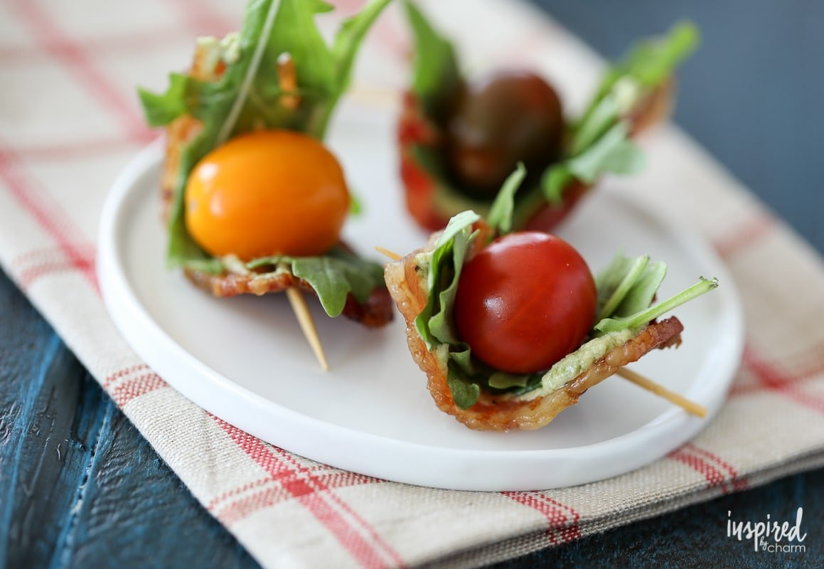 Avocado-Pesto BLT Bites are a Flavor-Packed Appetizer wrapped with Bacon | Inspired by Charm