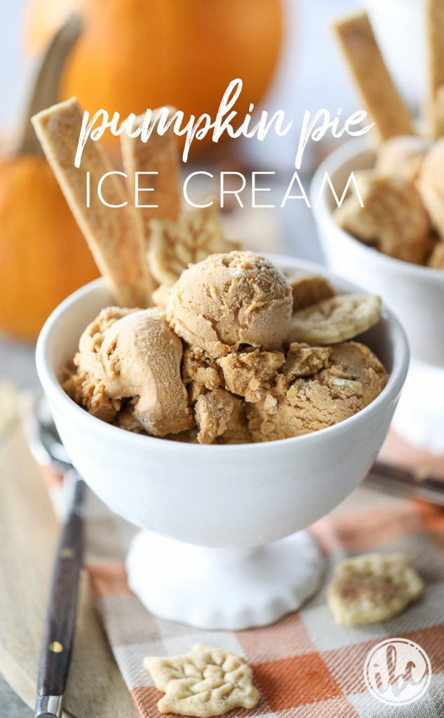 Pumpkin Pie Ice Cream - a creamy and rich ice cream with all of flavor of pumpkin pie.