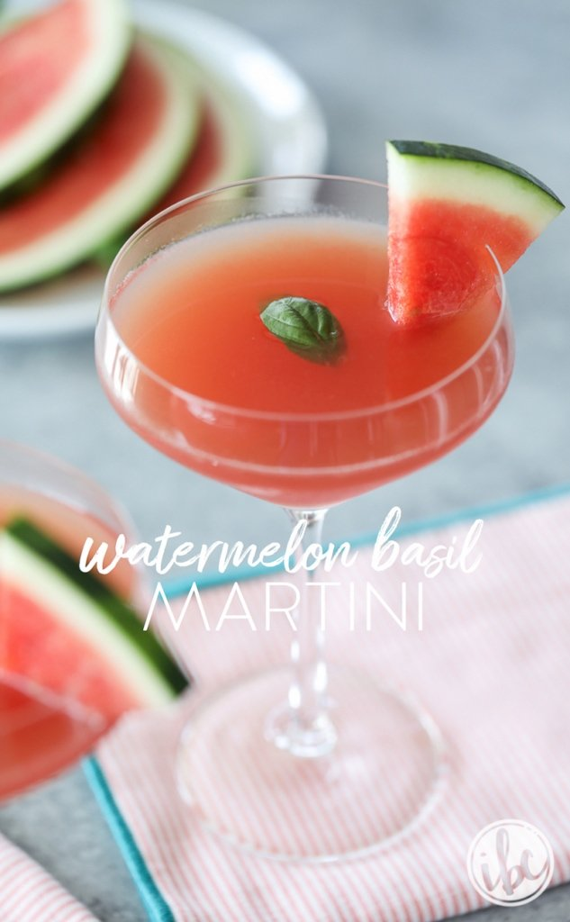 This Watermlon Basil Martini is a fresh and herby cocktail perfect for summer sipping! | Inspired by Charm