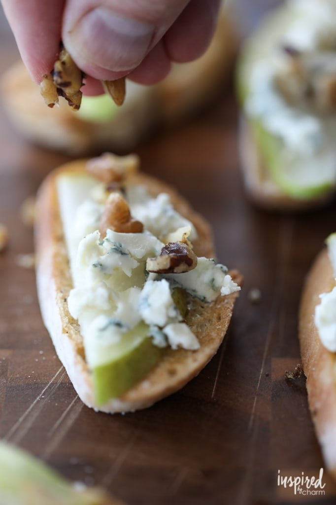 Blue Cheese, Pear, and Honey Crostini - Trio of Farm-to-Table Inspired Crostini | Inspired by Charm