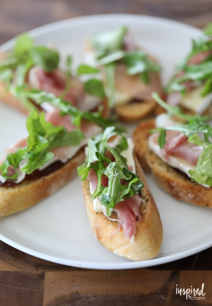 Brie, Fig, and Prosciutto Crostini - Trio of Farm-to-Table Inspired Crostini | Inspired by Charm
