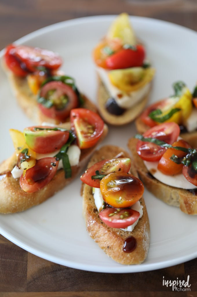 Mozzarella Caprese Crostini - Trio of Farm-to-Table Inspired Crostini | Inspired by Charm