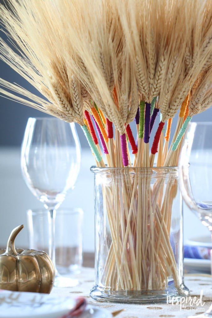 Colored-Wrapped Wheat Fall Decor DIY - Favorite Fall Decor Ideas   Inspired by Charm