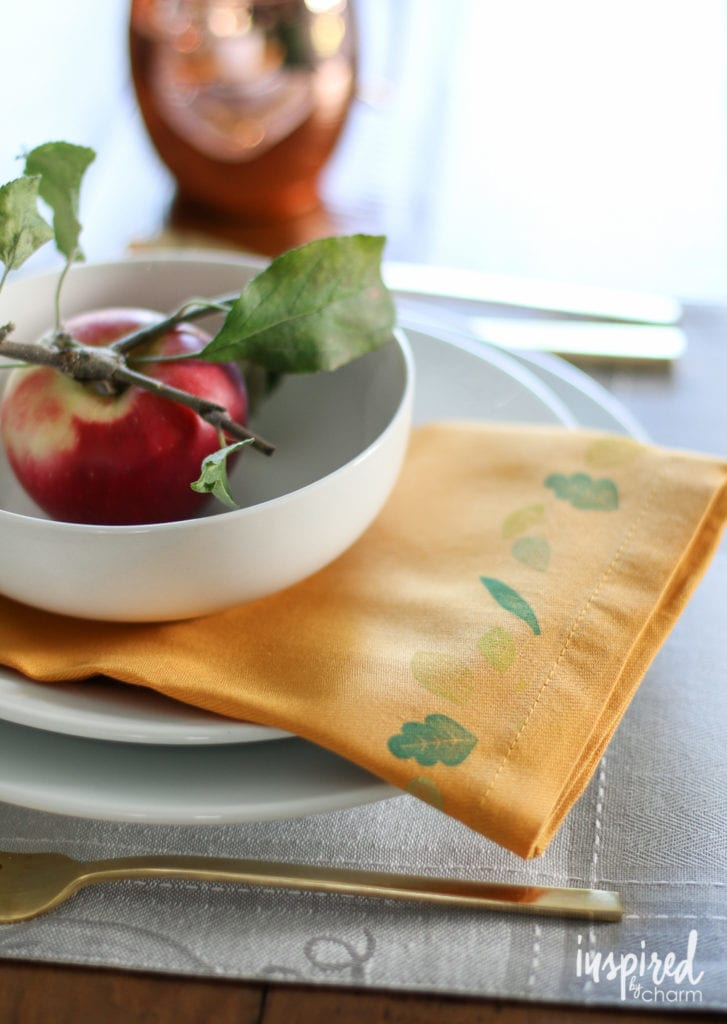 DIY Stamped Napkins - Favorite Fall Decor Ideas   Inspired by Charm