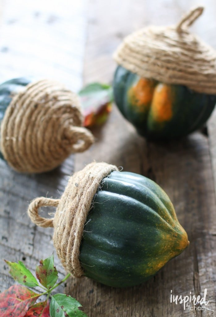 """Acorn"" Twine Wrapped Acorn Squash - Favorite Fall Decor Ideas 