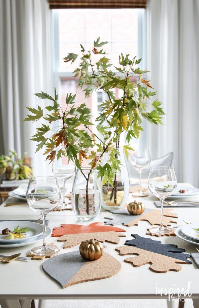 DIY Fall Cork Table Decor - Favorite Fall Decor Ideas   Inspired by Charm