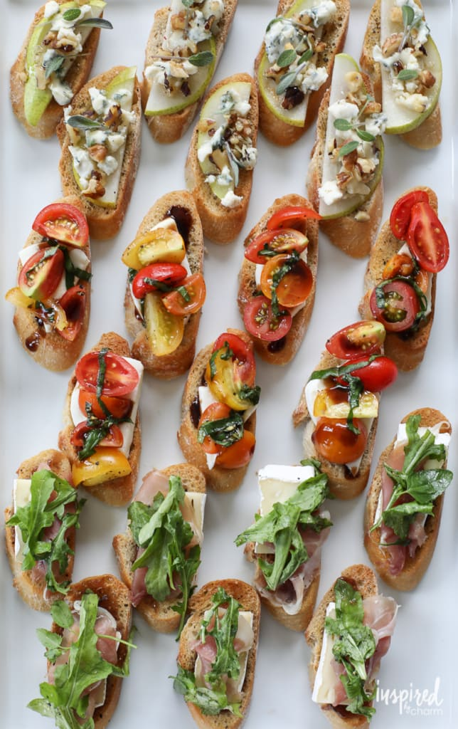 A delicious and easy appetizer recipe inspired by the farmers market. Trio of Farm-to-Table Inspired Crostini | Inspired by Charm